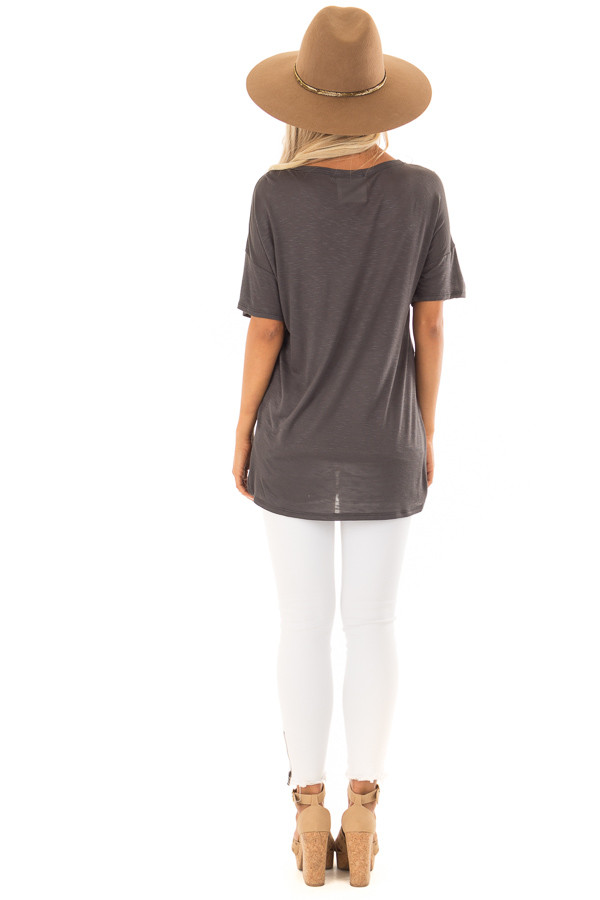 Charcoal 'Wanderlust' Graphic Print Top with Short Sleeves back full body