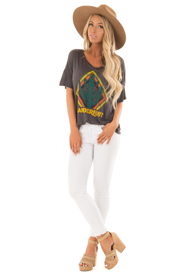 Charcoal 'Wanderlust' Graphic Print Top with Short Sleeves front full body