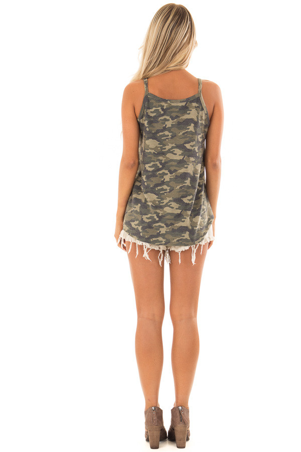Camo Print Button Up Tank Top with Front Tie Detail back full body