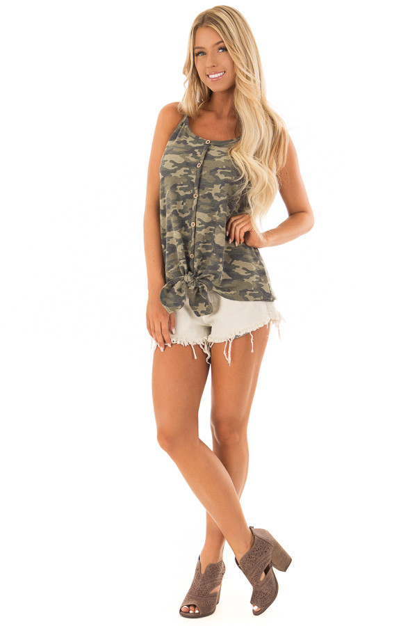 Camo Print Button Up Tank Top with Front Tie Detail front full body