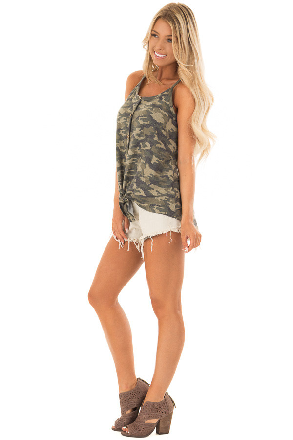 Camo Print Button Up Tank Top with Front Tie Detail side full body