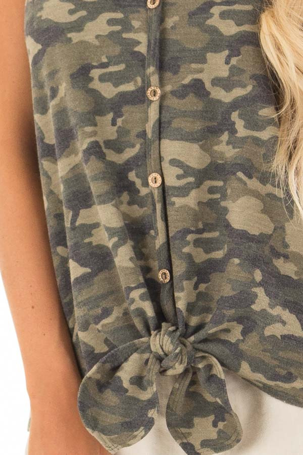 Camo Print Button Up Tank Top with Front Tie Detail detail