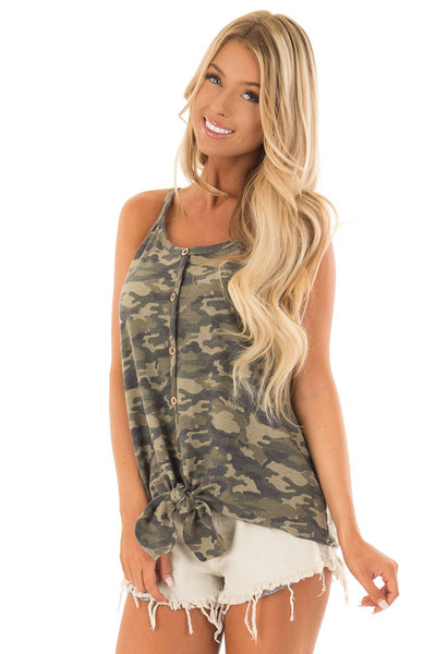 Camo Print Button Up Tank Top with Front Tie Detail front close up