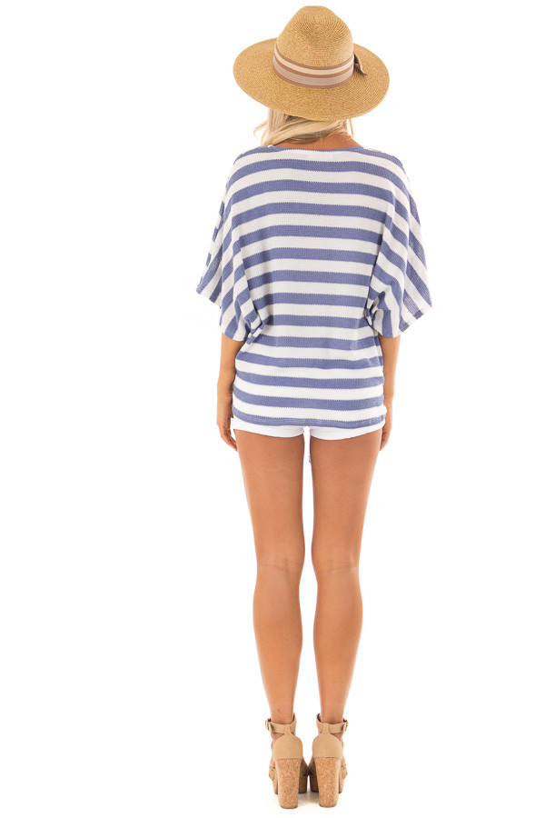 Sky Blue Stripe Knit Top with Knot Detail back full body
