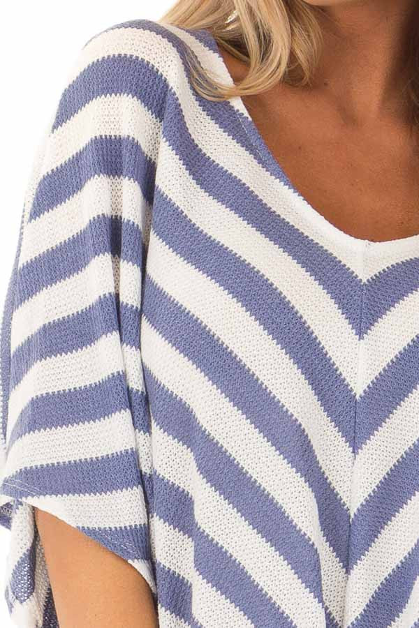 Sky Blue Stripe Knit Top with Knot Detail detail