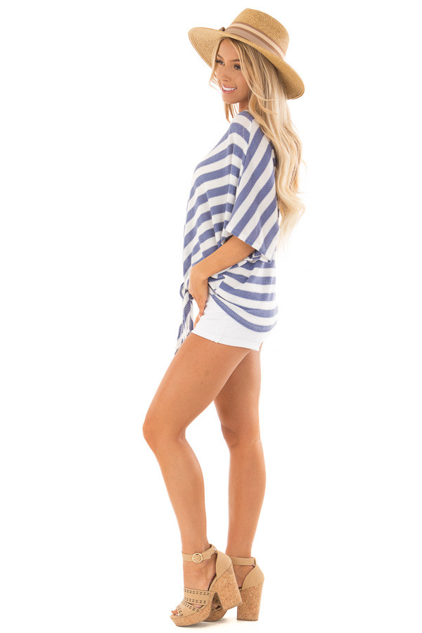 Sky Blue Stripe Knit Top with Knot Detail side full body