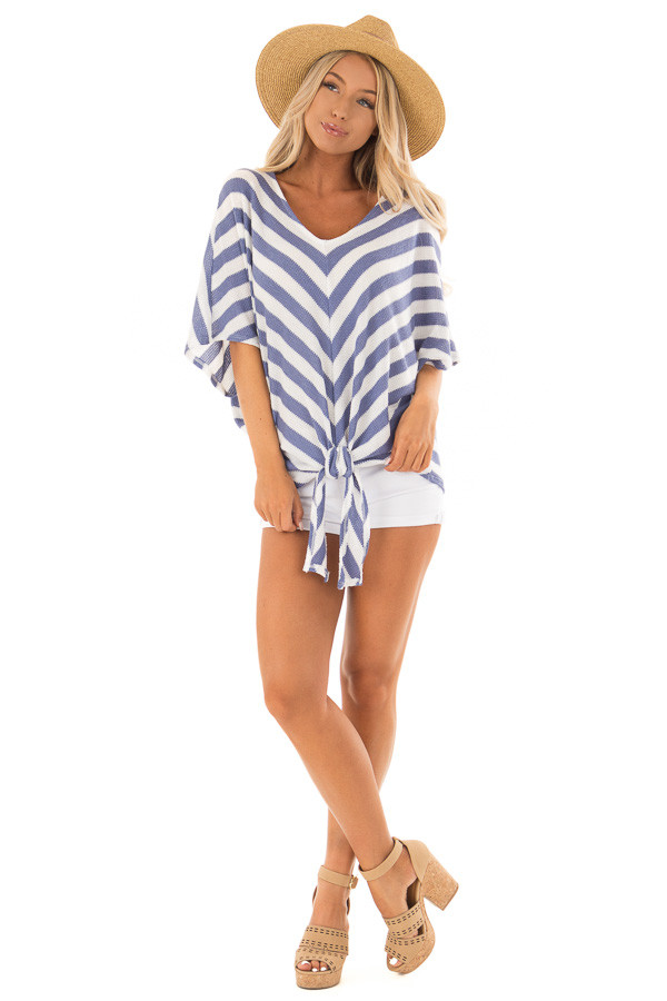 Sky Blue Stripe Knit Top with Knot Detail front full body