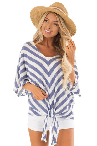Sky Blue Stripe Knit Top with Knot Detail front close up