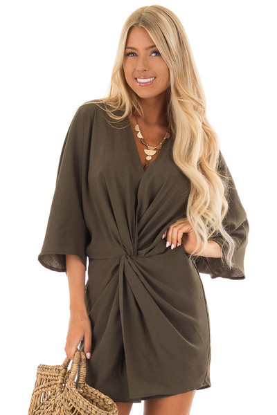 Olive Twisted Front Kimono Style Dress front close up