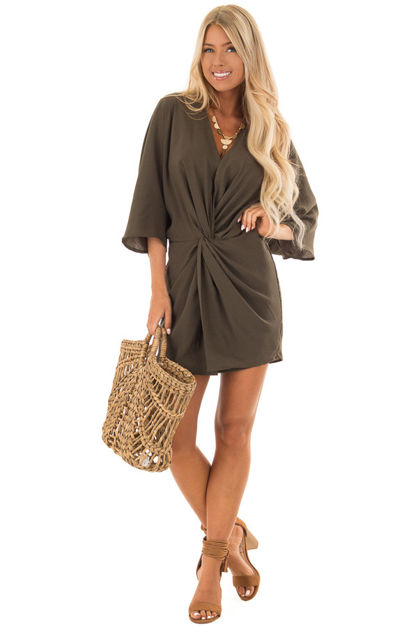 Olive Twisted Front Kimono Style Dress front full body