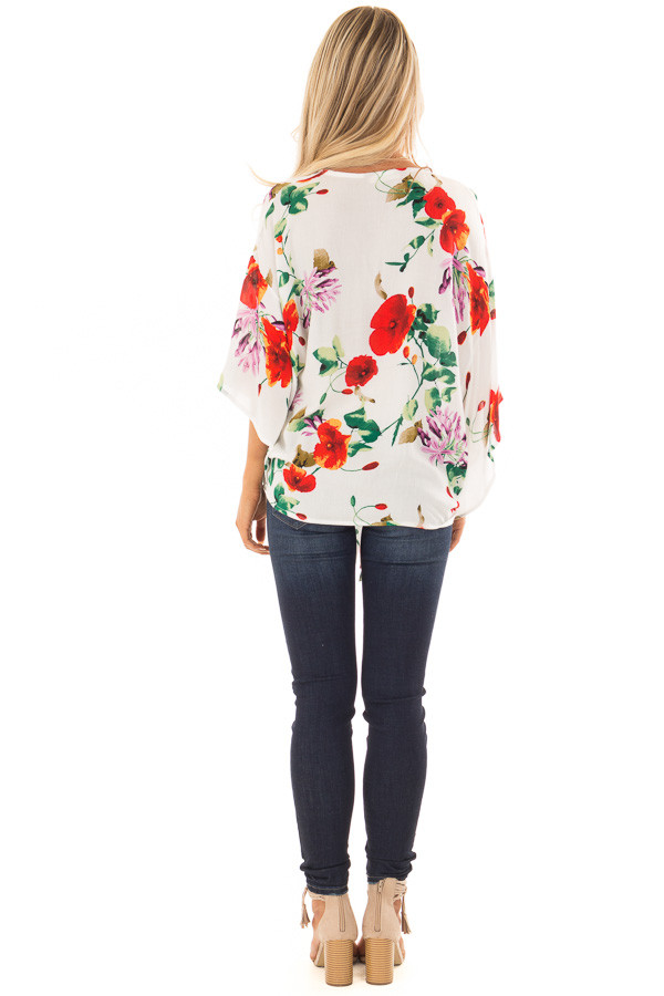 Ivory Floral Print Flowy Blouse with Knot Detail back full body