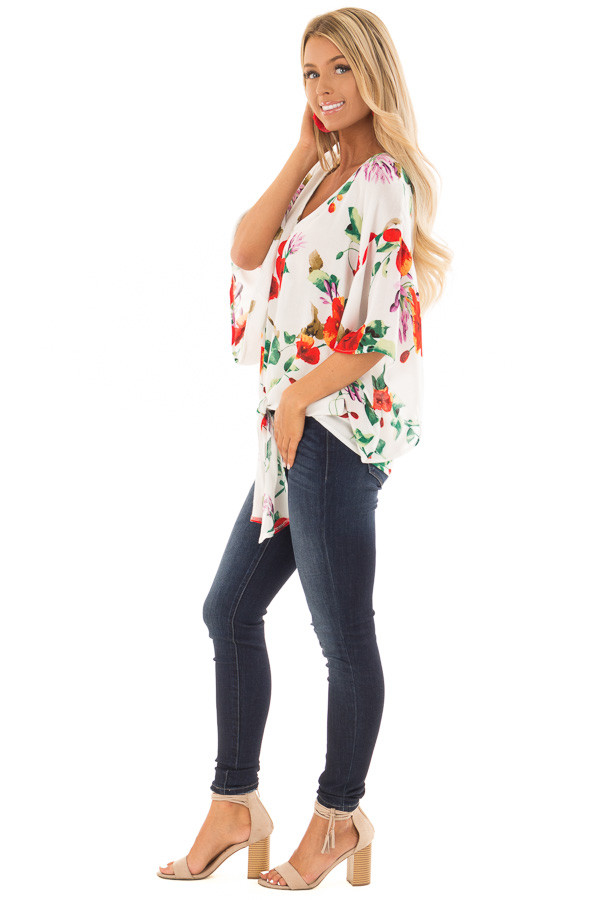 Ivory Floral Print Flowy Blouse with Knot Detail side full body