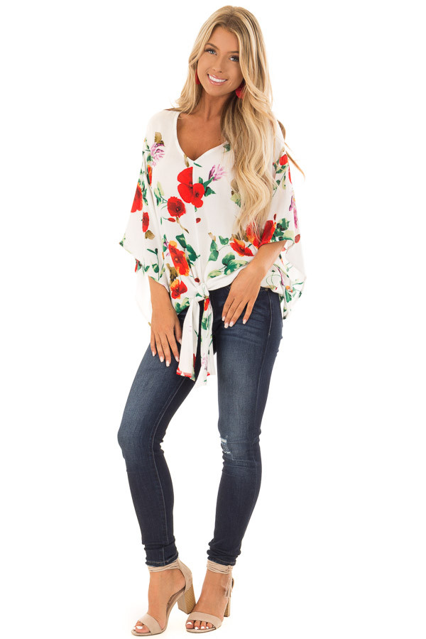 Ivory Floral Print Flowy Blouse with Knot Detail front full body