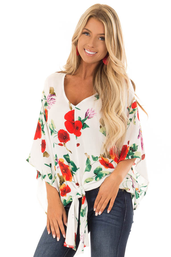 Ivory Floral Print Flowy Blouse with Knot Detail front close up