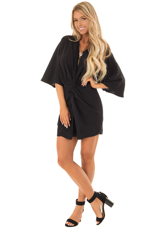 Black Twisted Front Kimono Style Dress front full body