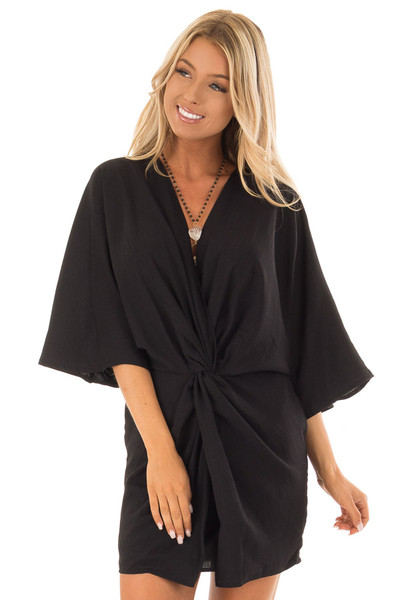 Black Twisted Front Kimono Style Dress front close up