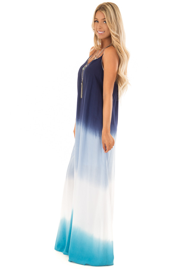 Ocean Blue Ombre Maxi Dress With Adjustable Halter Straps - Lime ...