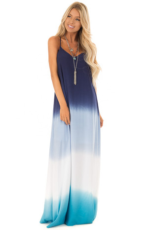 Ocean Blue Ombre Maxi Dress With Adjustable Halter Straps front full body