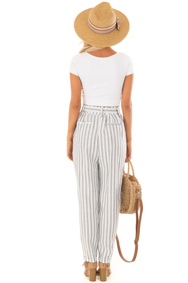 Faded Navy Stripe Pants with Waist Tie and Pockets back full body