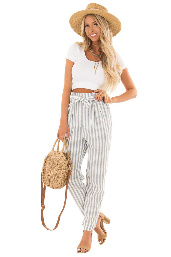 Faded Navy Stripe Pants with Waist Tie and Pockets front full body