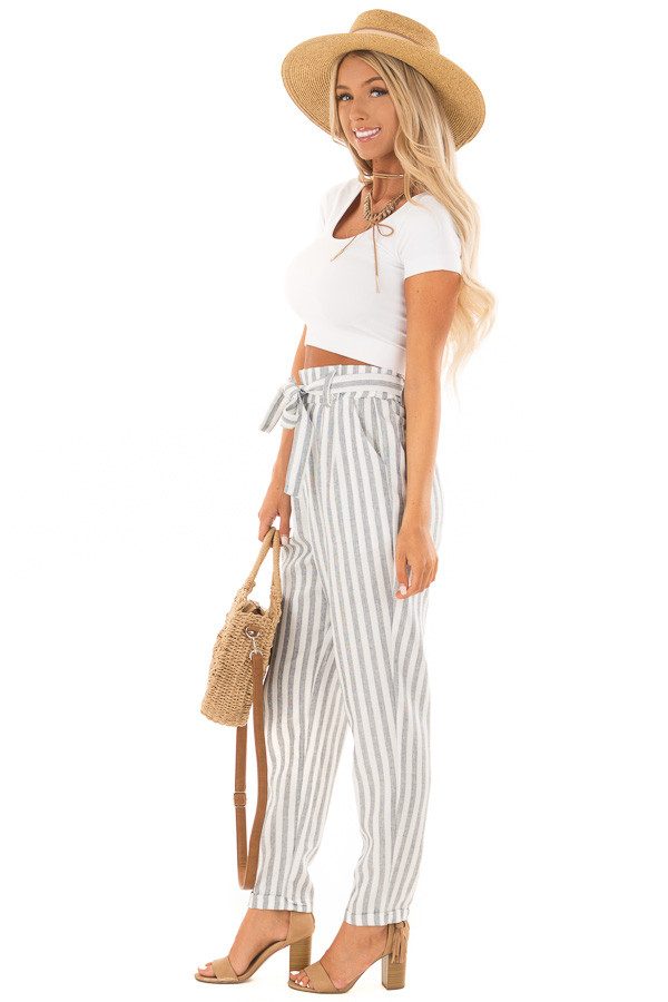 Faded Navy Stripe Pants with Waist Tie and Pockets side full body