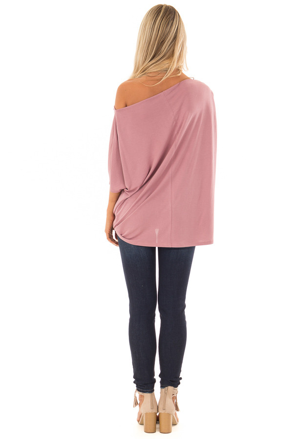 Mauve Off the Shoulder Top with Front Twist back full body