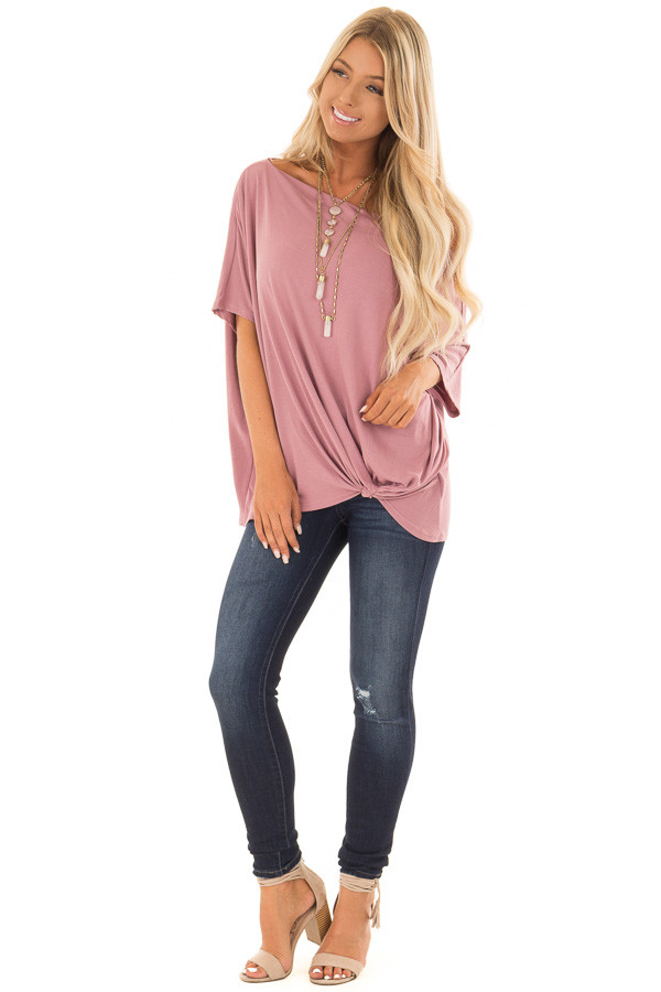 Mauve Off the Shoulder Top with Front Twist front full body