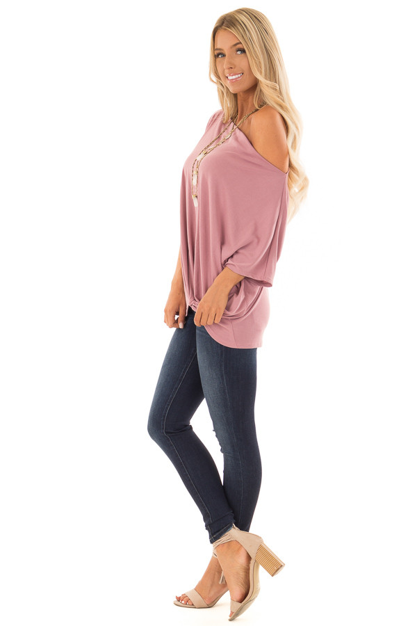 Mauve Off the Shoulder Top with Front Twist side full body
