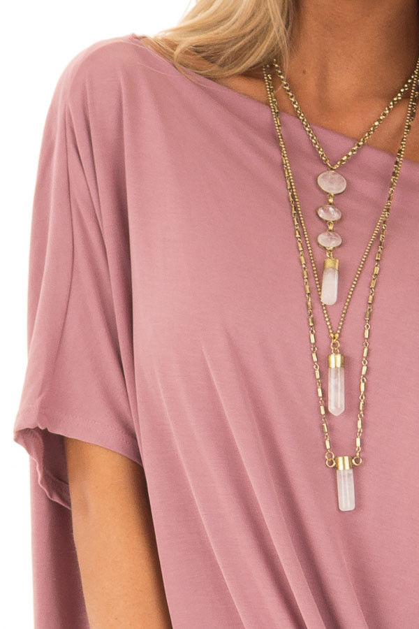 Mauve Off the Shoulder Top with Front Twist detail