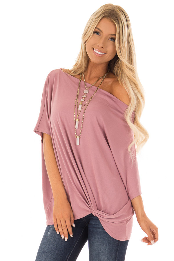 Mauve Off the Shoulder Top with Front Twist front close up