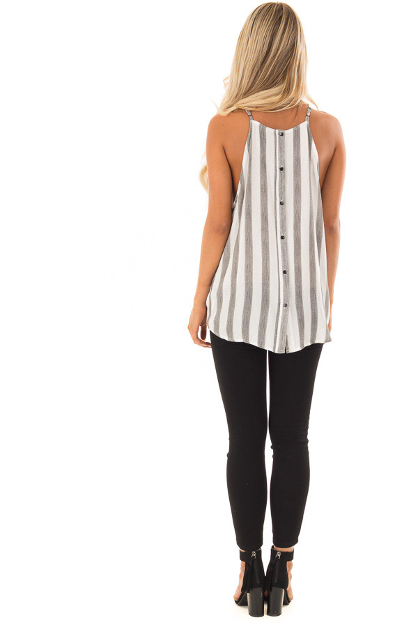 Charcoal and White Striped Tank Top with Button Down Back back full body