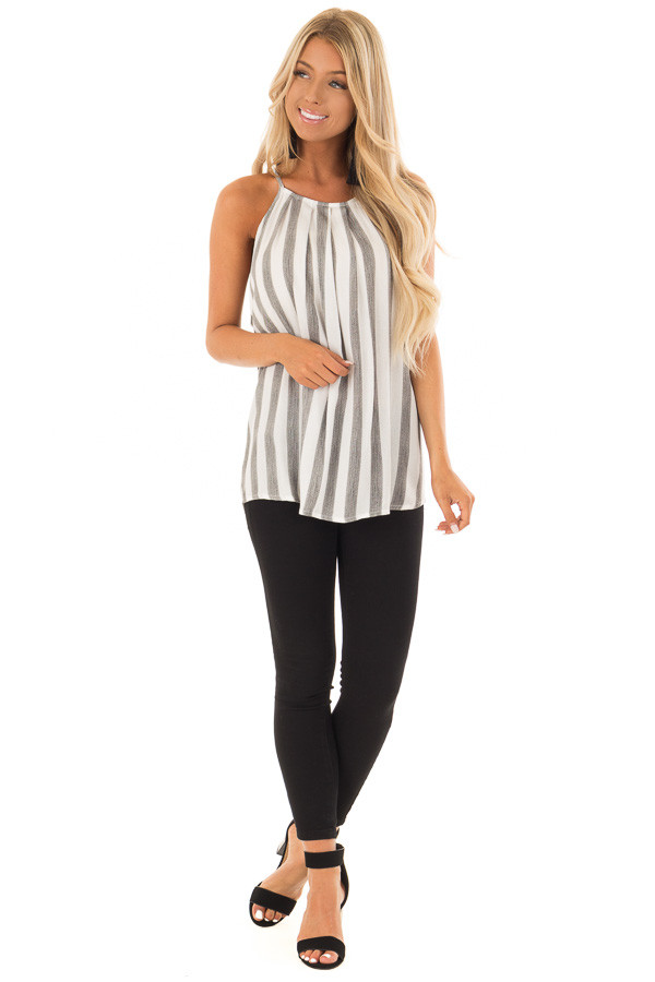 Charcoal and White Striped Tank Top with Button Down Back front full body