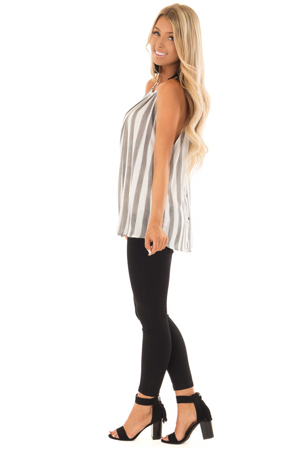 Charcoal and White Striped Tank Top with Button Down Back side full body