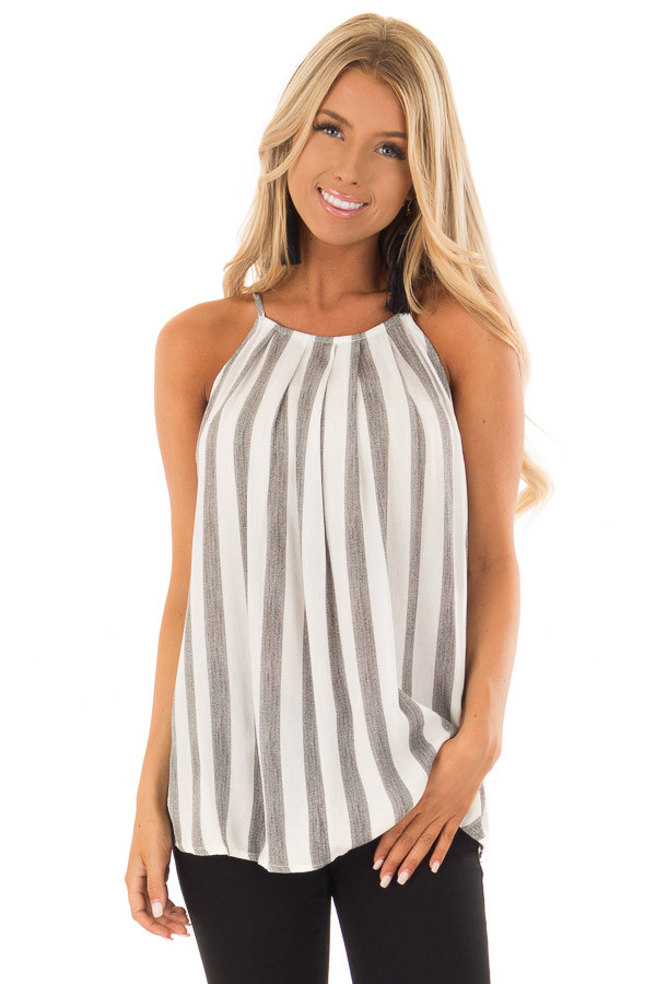 Charcoal and White Striped Tank Top with Button Down Back front close up