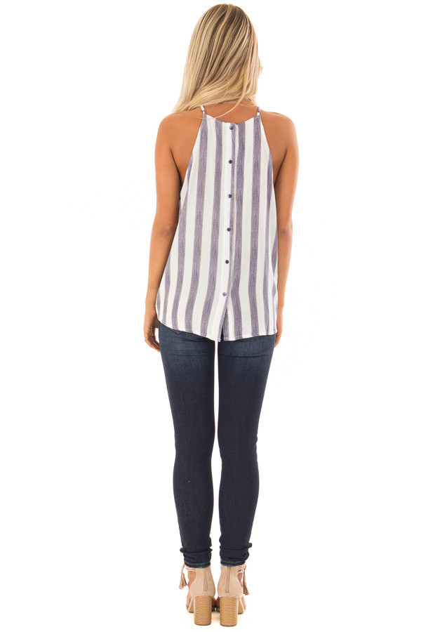 Navy and White Striped Tank Top with Button Down Back back full body
