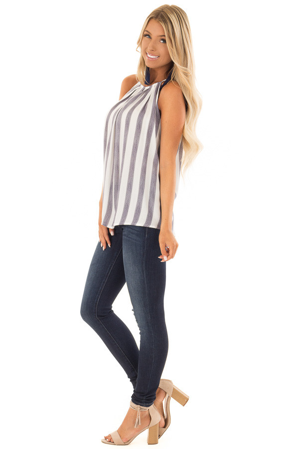 Navy and White Striped Tank Top with Button Down Back side full body