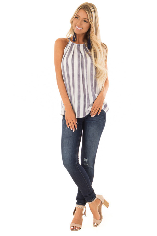 Navy and White Striped Tank Top with Button Down Back front full body