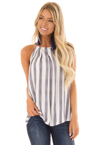 Navy and White Striped Tank Top with Button Down Back front close up