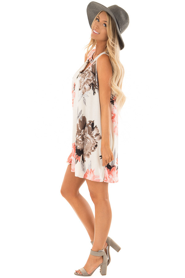 Eggshell Swing Dress with Floral Print and Keyhole Detail side full body