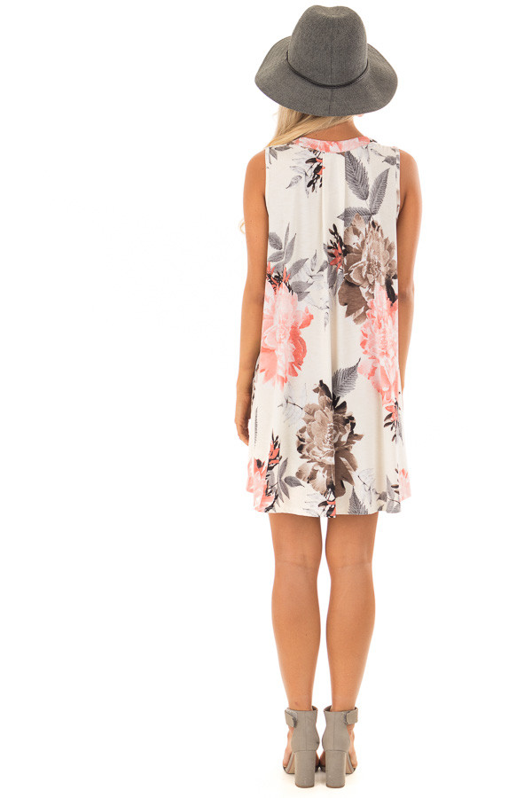 Eggshell Swing Dress with Floral Print and Keyhole Detail back full body