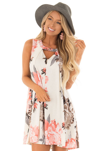 Eggshell Swing Dress with Floral Print and Keyhole Detail front close up