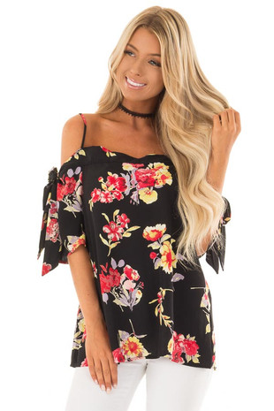 Black Floral Print Cold Shoulder Top with Tie Details front close up