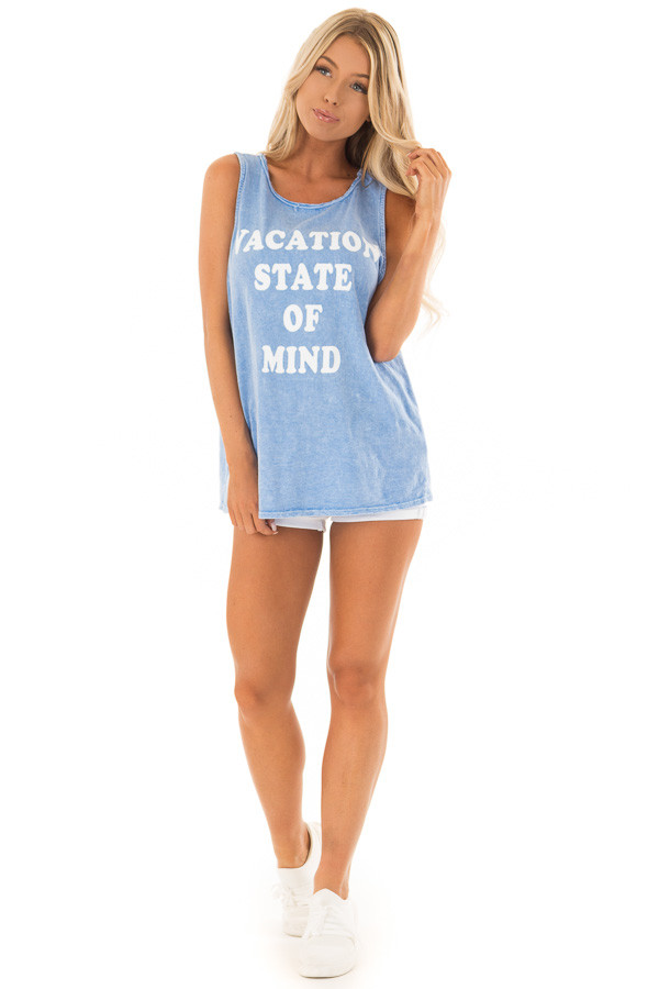 Chambray 'Vacation State of Mind' Graphic Tank Top front full body
