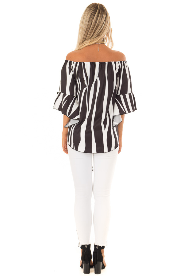 Black and White Striped Off Shoulder Top with Tie Detail back full body