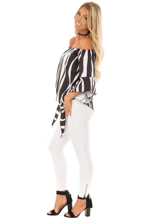 Black and White Striped Off Shoulder Top with Tie Detail side full body