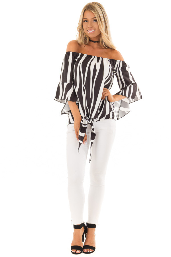Black and White Striped Off Shoulder Top with Tie Detail front full body