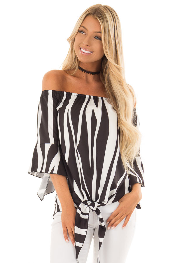 Black and White Striped Off Shoulder Top with Tie Detail front close up