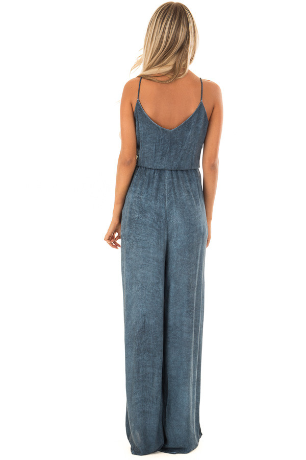 Denim Blue Jumpsuit with Front Cutout and Twist Detail back full body