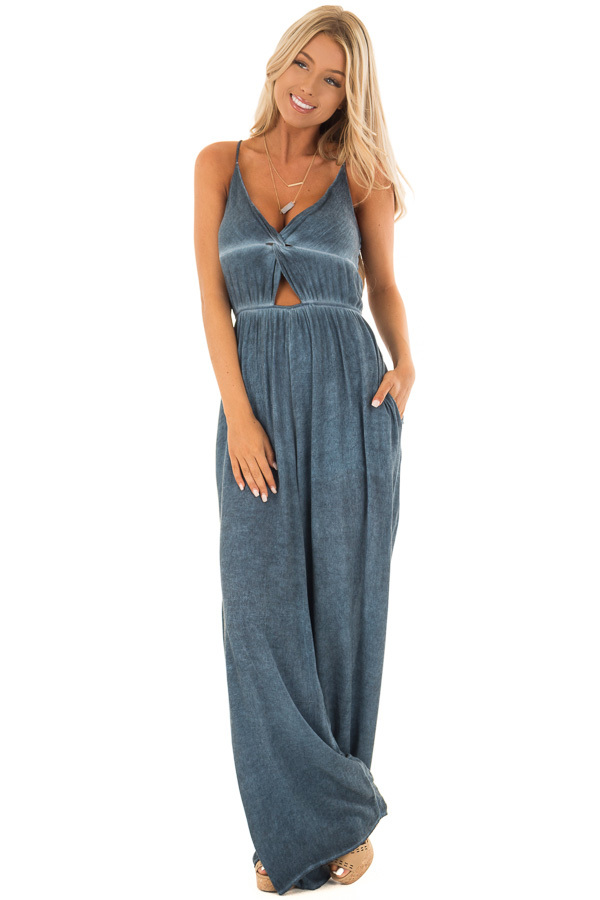 Denim Blue Jumpsuit with Front Cutout and Twist Detail front full body