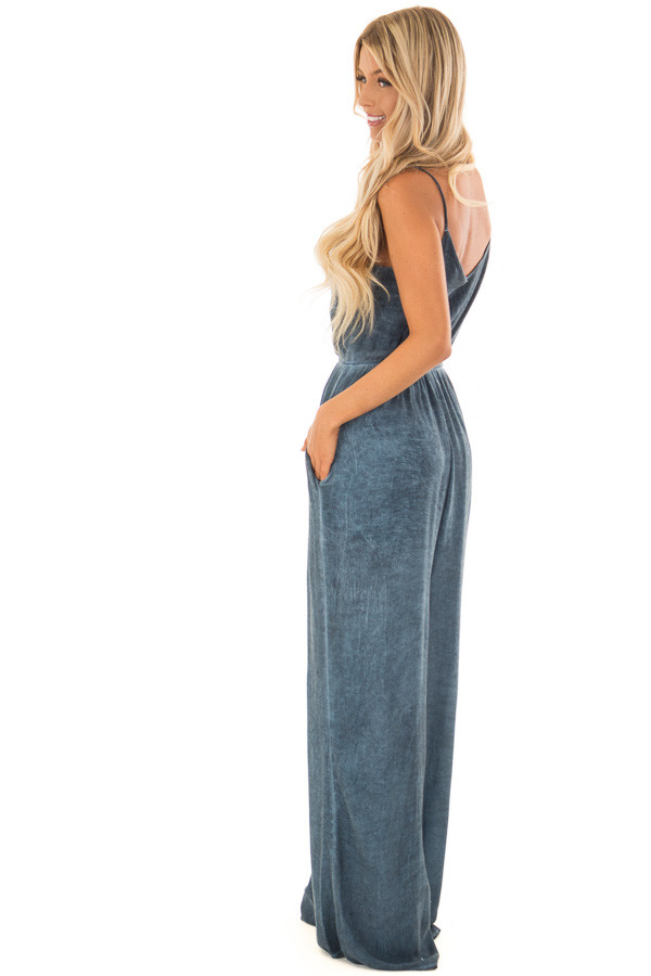 Denim Blue Jumpsuit with Front Cutout and Twist Detail side full body